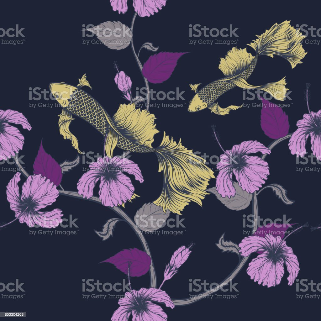 Koi Fish And Hibiscus Flower Pattern By Hand Drawing Stock Vector