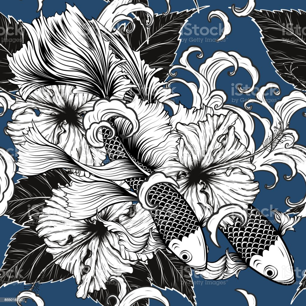 Koi Fish And Hibiscus Flower Pattern By Hand Drawing Stock Illustration Download Image Now Istock