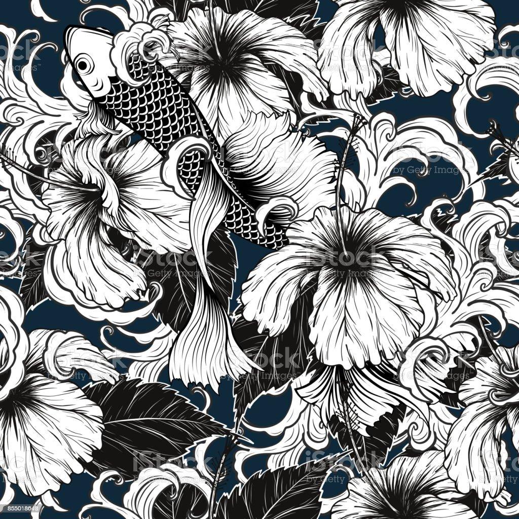 Koi fish and hibiscus flower pattern by hand drawing stock vector koi fish and hibiscus flower pattern by hand drawing royalty free koi fish and hibiscus izmirmasajfo