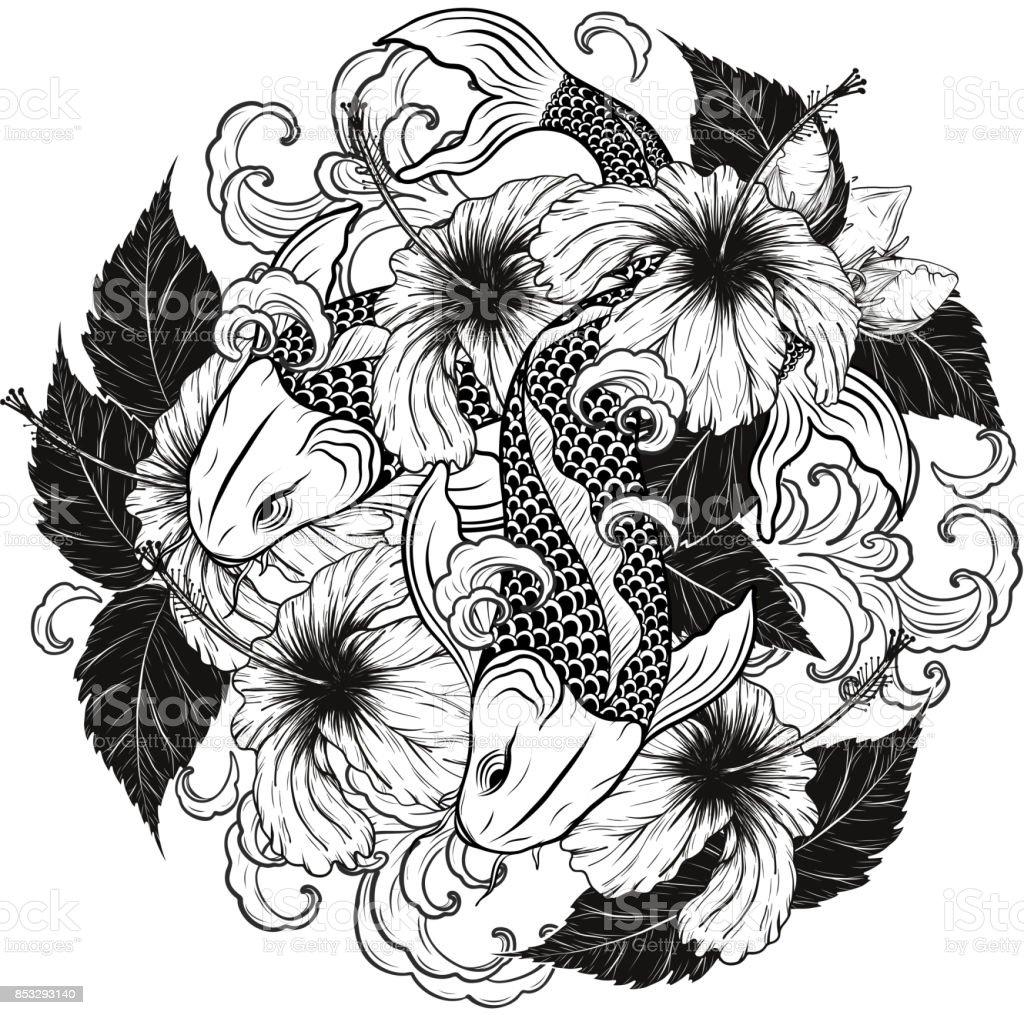 Koi fish and hibiscus tattoo by hand drawing stock vector art more koi fish and hibiscus tattoo by hand drawing royalty free koi fish and hibiscus tattoo izmirmasajfo