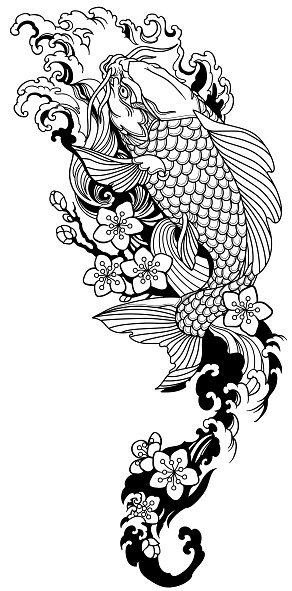 koi fish and sakura. Black and white tattoo