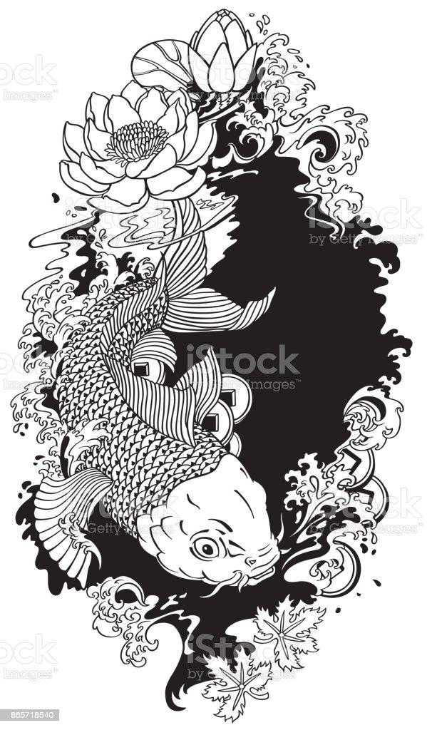 koi fish black and white illustration vector art illustration