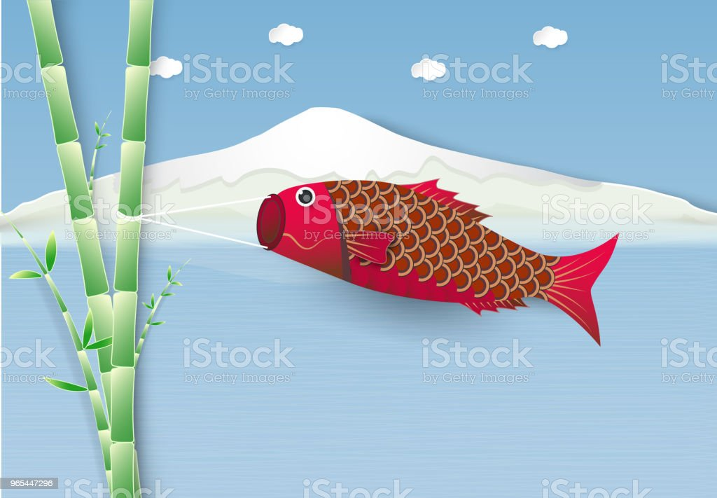Koi fish flag flying on branch of Japanese festival on mountain background royalty-free koi fish flag flying on branch of japanese festival on mountain background stock vector art & more images of animal