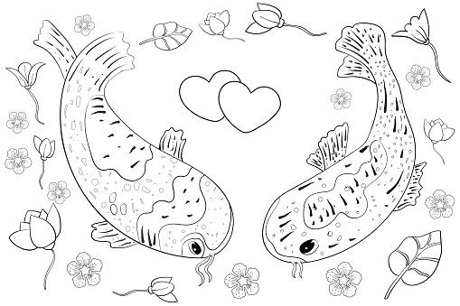 Koi fish illustration. Vector illustration for design, poster, for home. Ethnic pattern Asia, Oriental illustration for coloring.