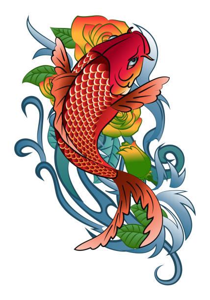 illustrations, cliparts, dessins animés et icônes de koi poissons sautent tatouage - tatouages asiatiques