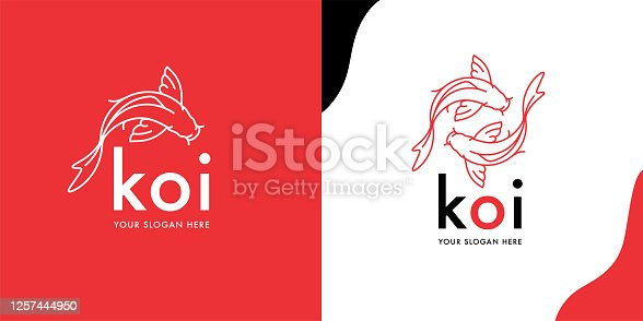 Modern Koi Fish logotype template design. Creative Japanese Asian Carp line icons. Orange Goldfish brand symbol. Vector illustration.