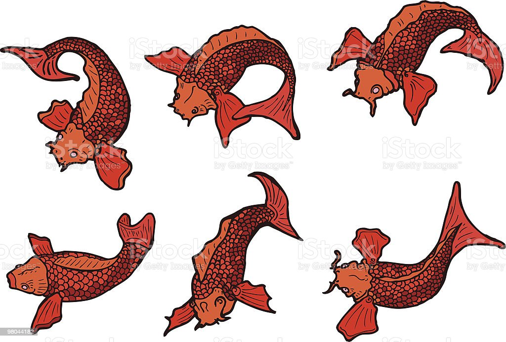 Koi Fish Tattoo Elements royalty-free koi fish tattoo elements stock vector art & more images of art