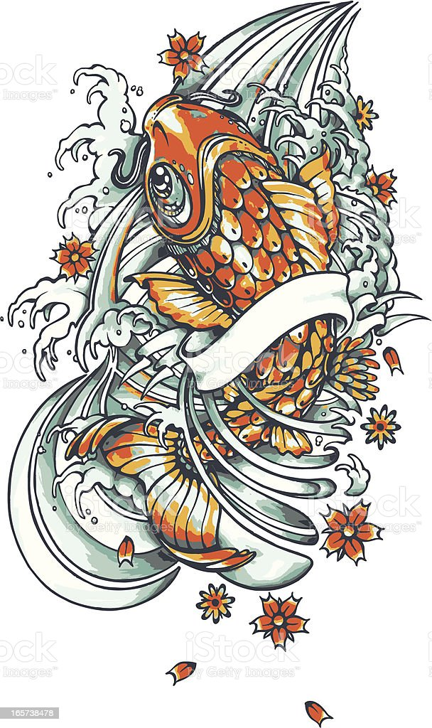 Carp Fish Tattoo Images Designs: Koi Fish Tattoo Stock Illustration