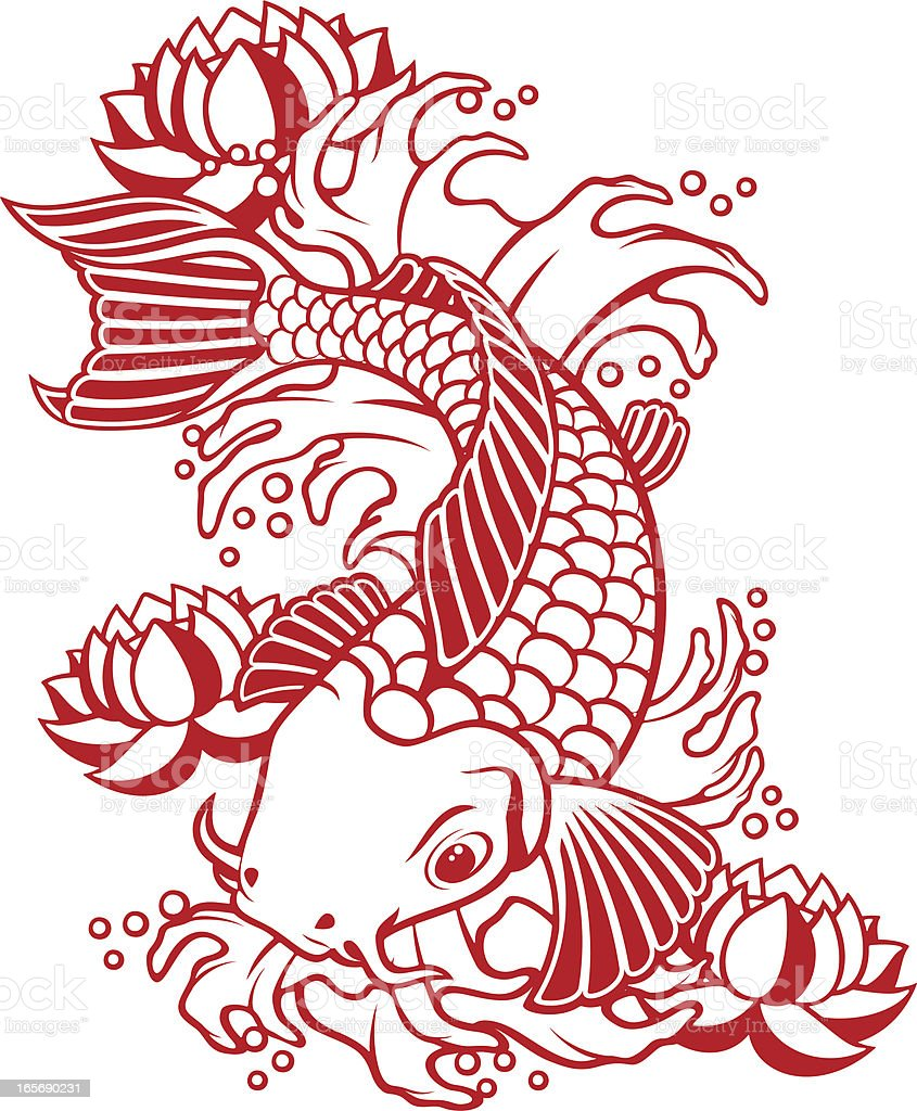 Koi fish stock vector art more images of black and white for Koi fish vector