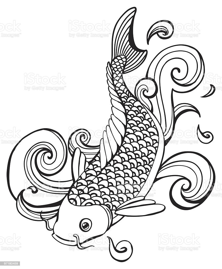 Koi fish stock vector art more images of animal fin for Black and white coy fish