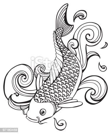 istock Peces Koi tatuaje dibujo 536872103 istock Carpa Koi peces ...