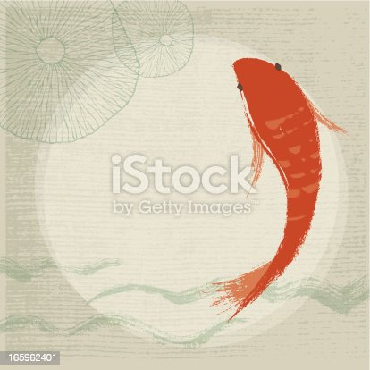 Hand drawn style Koi Fish & Waterlily Background. EPS 10 with transparency effect. Zip contains AI and hi-res jpeg.