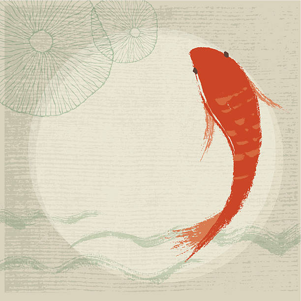 Koi Fish & Waterlily Background Hand drawn style Koi Fish & Waterlily Background. EPS 10 with transparency effect. Zip contains AI and hi-res jpeg. japanese culture stock illustrations