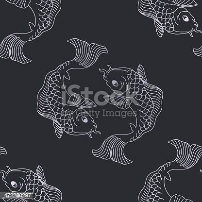 This is a seamless decorative koi pattern. This vector illustration includes the fully editable koi as well as a pattern swatch for easy use as a repeating background.