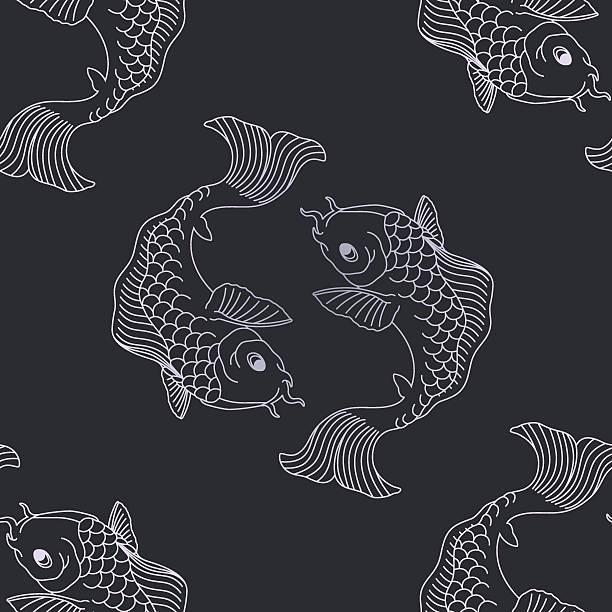 illustrations, cliparts, dessins animés et icônes de motif koi - pisces zodiac