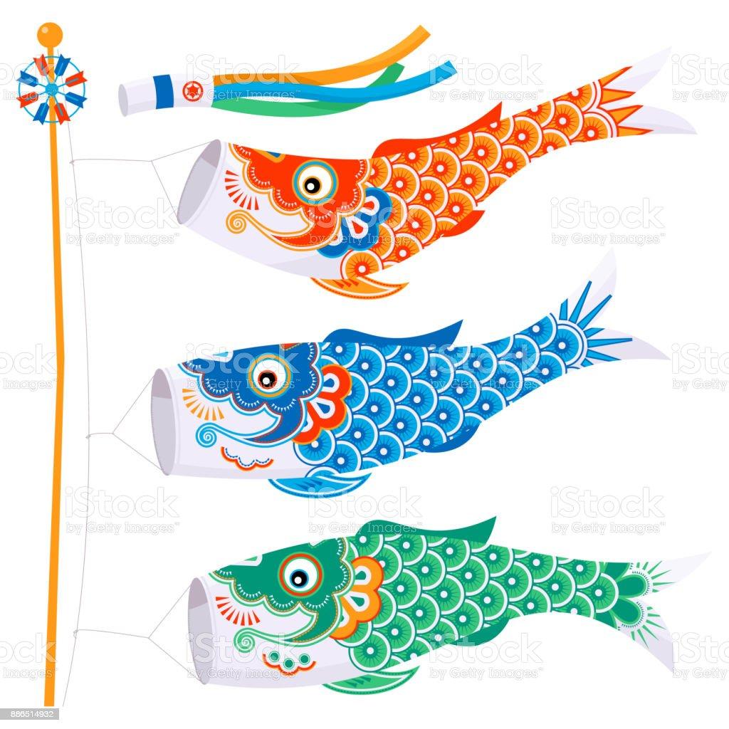 こいのぼり 魚の凧伝統的な日本を祝うこどもの日 - おもちゃのベクター