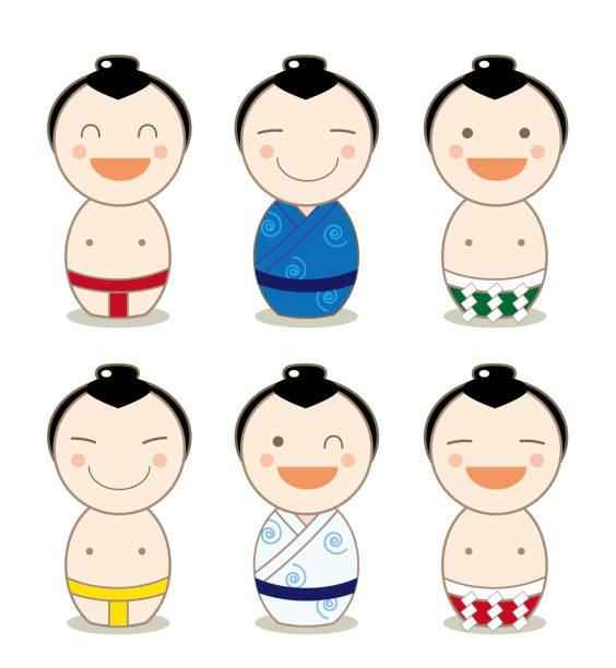 kokeshi avatar set - sumo-ringer - sumo stock-grafiken, -clipart, -cartoons und -symbole