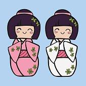 Kokeshi cartoon doll in kimono. Japanese traditional toy.