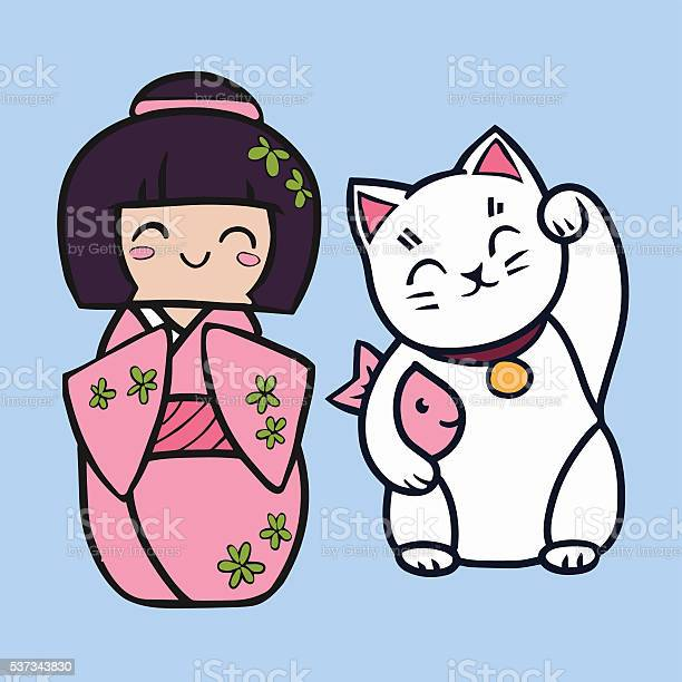 Kokeshi cartoon doll in kimono maneki neko cat with fish vector id537343830?b=1&k=6&m=537343830&s=612x612&h=m  vn4naz0hxg3m vaehwyisataticut lbqpbx71na=