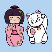 Kokeshi cartoon doll in kimono. Maneki neko cat with fish.
