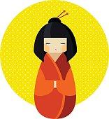 Kokeshi doll in kimono flat style illustration