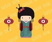 Kokeshi doll in kimono with traditional asian lantern, vector illustration.