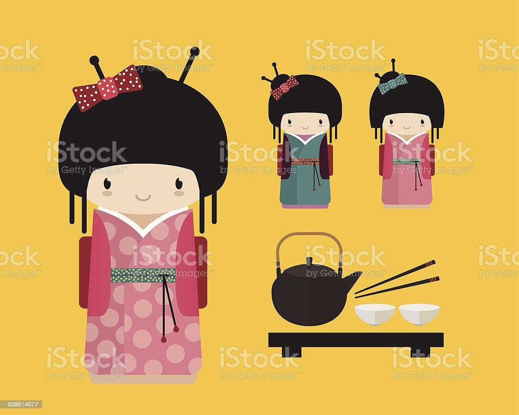 Ilustración de Muñeca En Kokeshi Kimono Japonés Comida Con El ...
