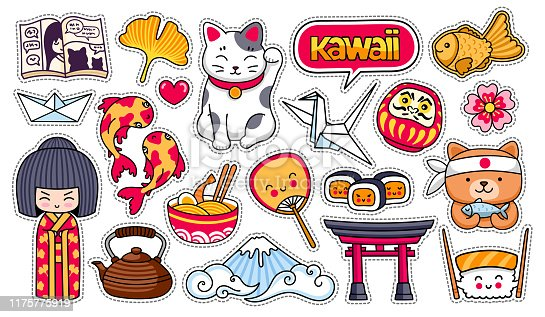 Kokeshi doll, maneki-neko, carps, origami, fuji, sushi, manga, ginko leaf, taiyaki fish. Set of cartoon stickers, patches, badges, pins, prints. Vector illustrations.