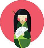 Kokeshi doll with fan