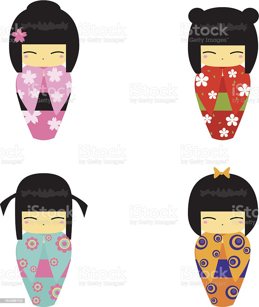 Kokeshi Dolls royalty-free stock vector art