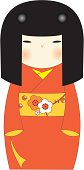 Kokeshi Girl Red