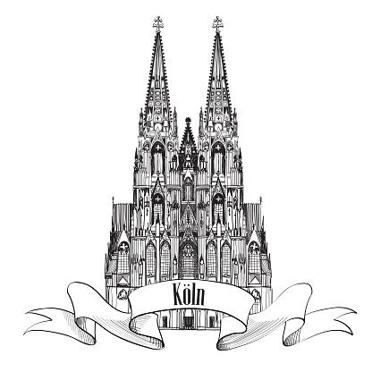 Koln Dom Cathedral. Travel Germany landmarks label.