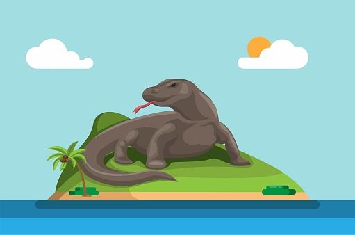 Komodo island. indonesian island habitat of the Komodo dragon, the largest lizard on Earth. concept in cartoon illustration vector