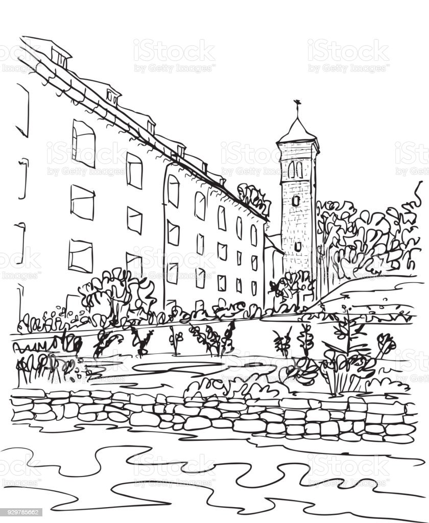 Konigstein Fortress church, Saxon Switzerland, Germany, European city, vector sketch hand drawn collection, drawing, scribble. Famous, tourists & travel, popular historic city attraction, routes. Tourism concept. vector art illustration