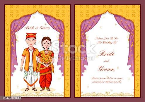 istock Konkani couple on Indian Wedding invitation template background 1247013590