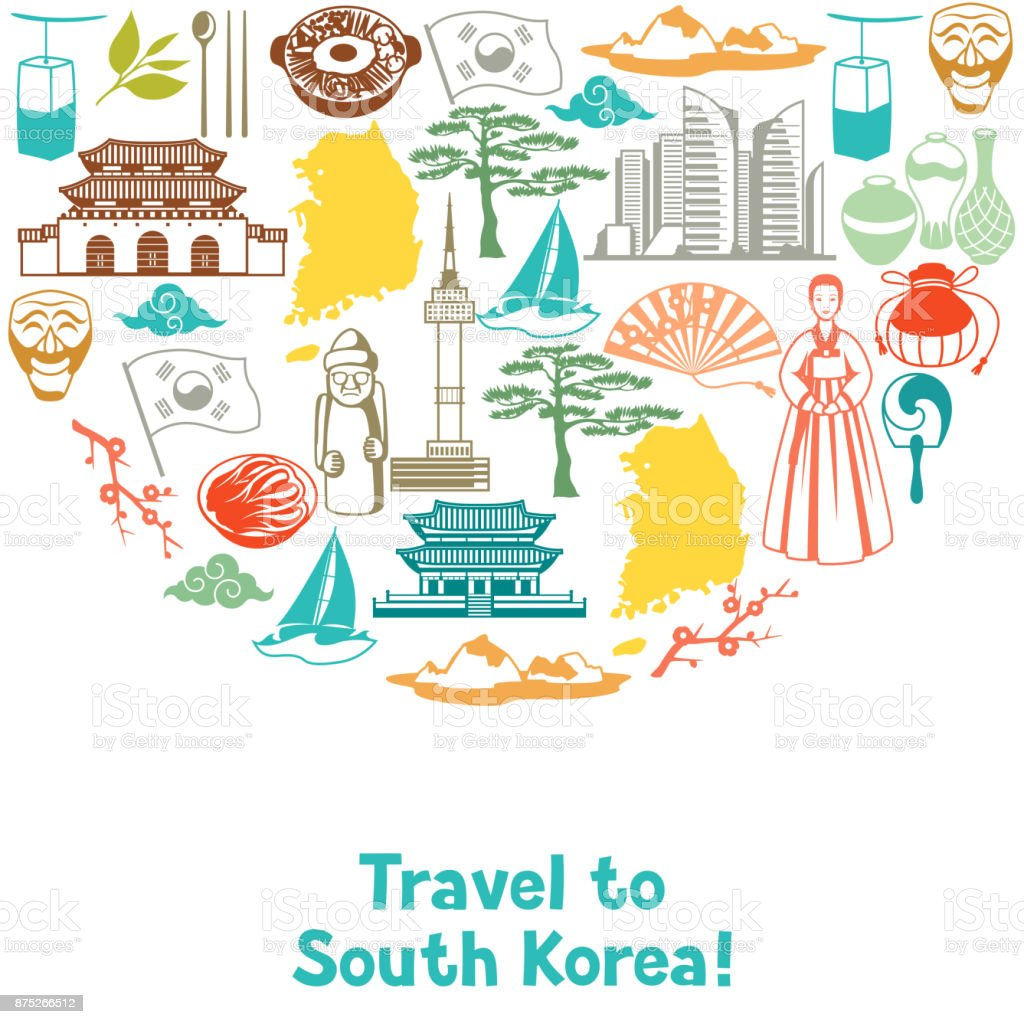 Projeto de plano de fundo de Coreia. Objetos e símbolos tradicionais coreanos - ilustração de arte em vetor
