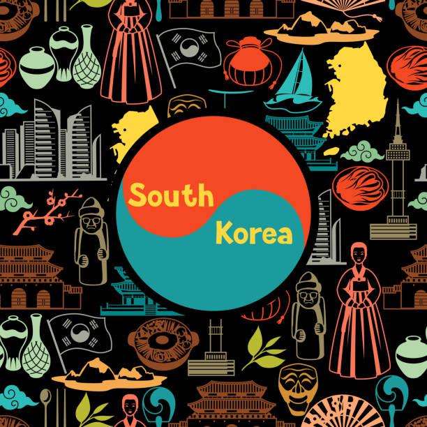 ilustrações, clipart, desenhos animados e ícones de projeto de plano de fundo de coreia. objetos e símbolos tradicionais coreanos - bandeira da coreia