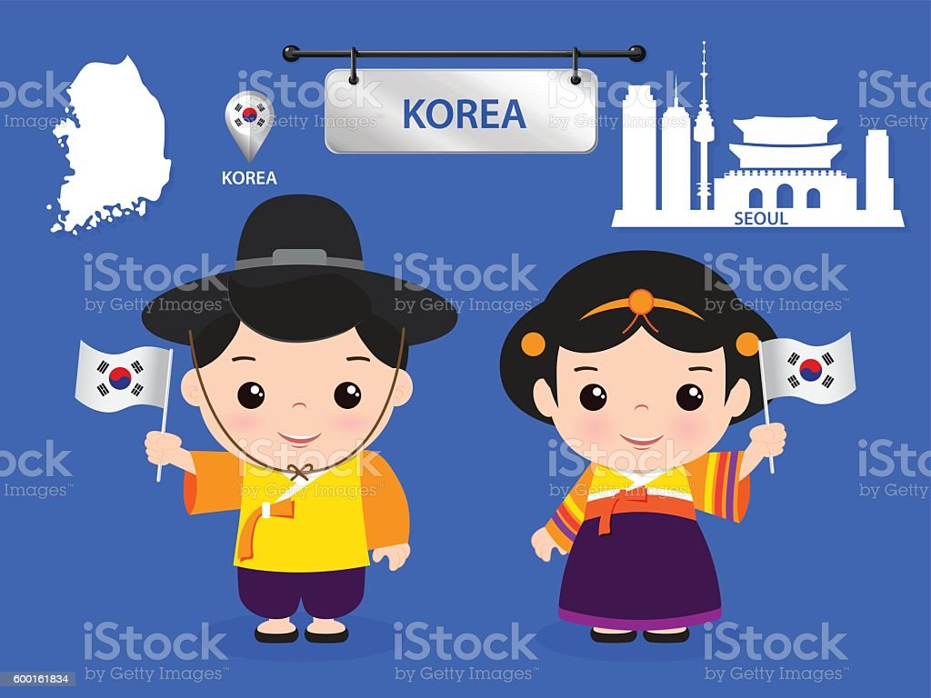korea children character vector art illustration