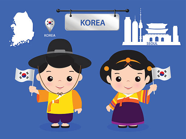 illustrations, cliparts, dessins animés et icônes de korea children character - drapeau coréen