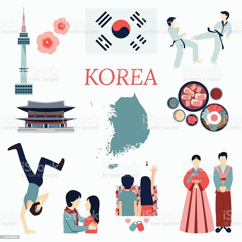 Korea elements vector art illustration