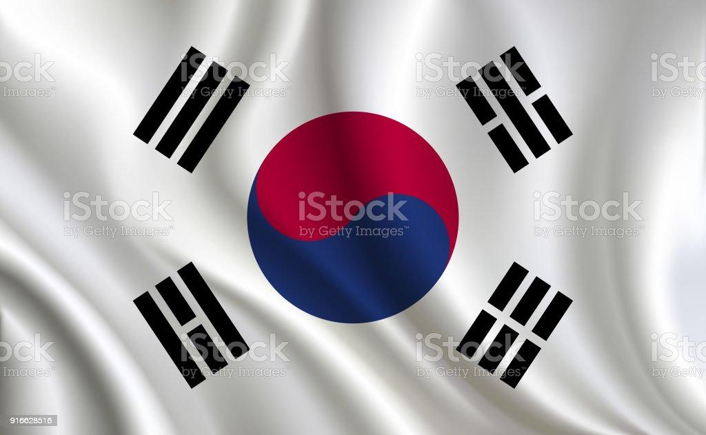 Fundo de bandeira de Coreia - ilustração de arte em vetor