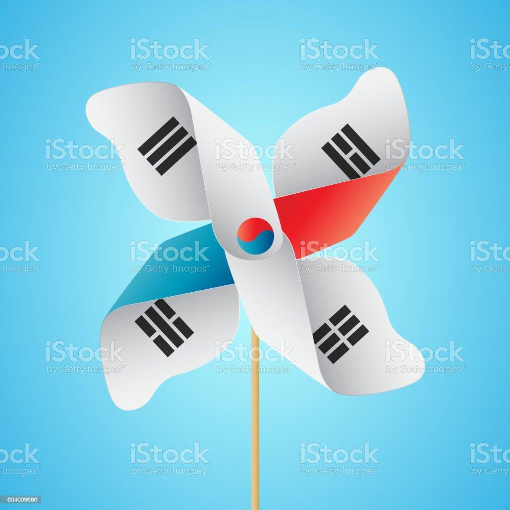 Korea flag with Pinwheel - ilustração de arte em vetor