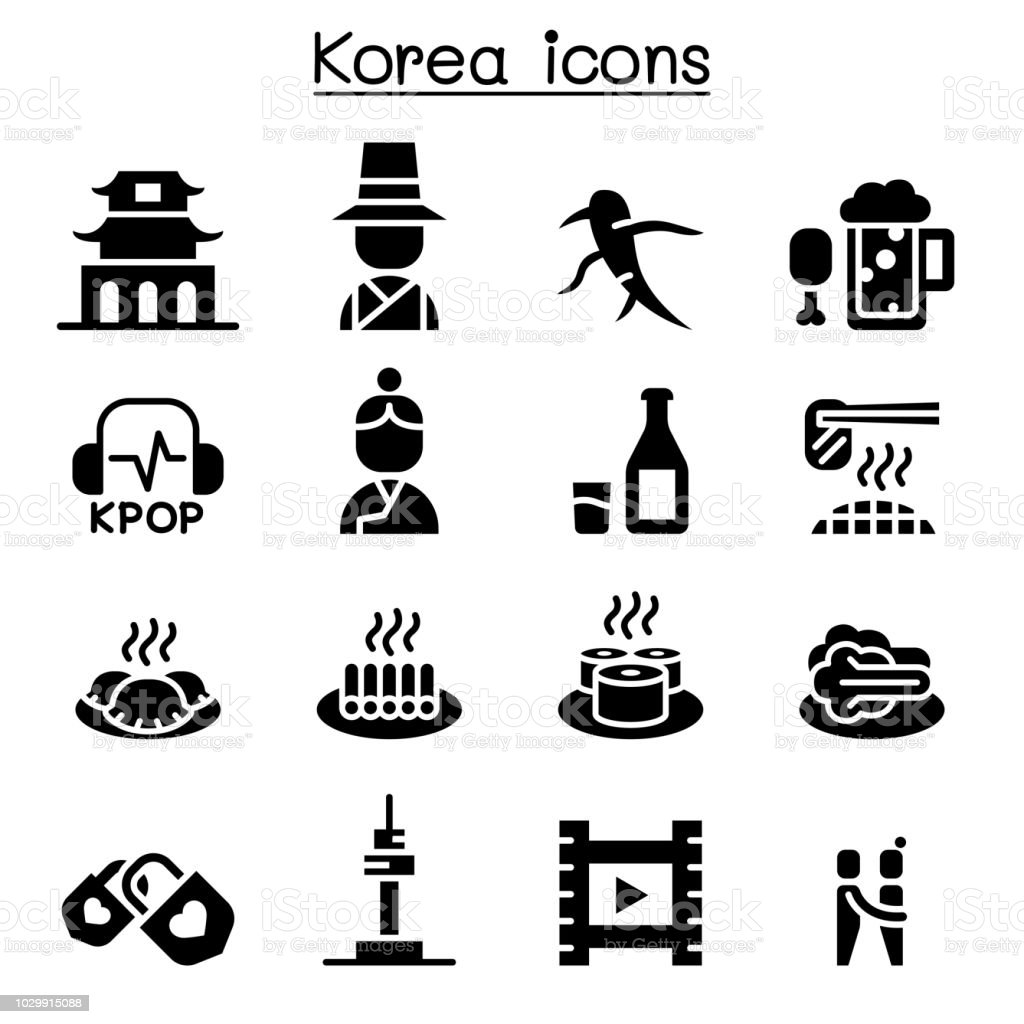 Korea icon set vector art illustration