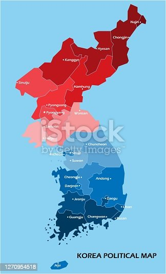 Korea political map divide by state colorful outline simplicity style. Vector illustration.
