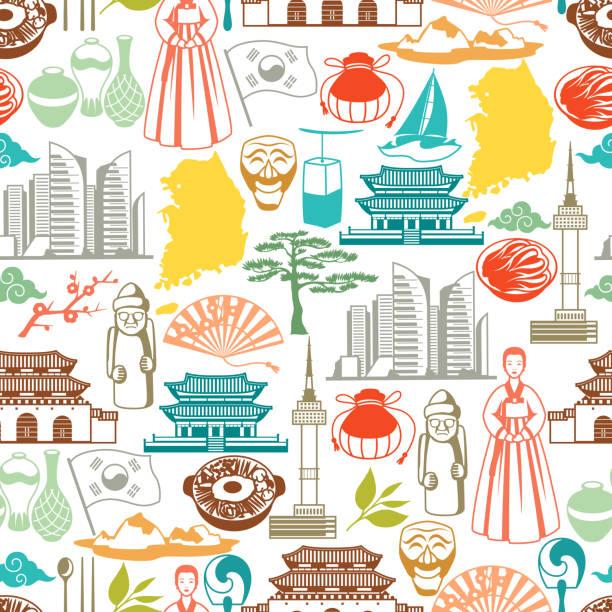 ilustrações, clipart, desenhos animados e ícones de padrão sem emenda de coreia. objetos e símbolos tradicionais coreanos - bandeira da coreia
