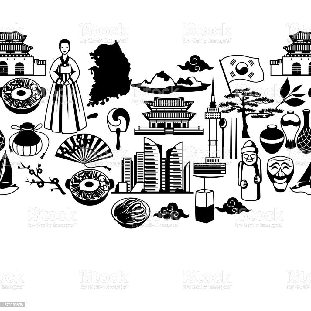 Padrão sem emenda de Coreia. Objetos e símbolos tradicionais coreanos - ilustração de arte em vetor