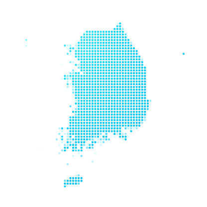Korea South map of blue dots on white background