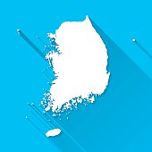 Korea South Map on Blue Background, Long Shadow, Flat Design