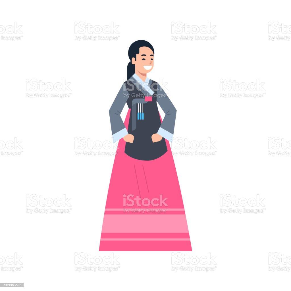 Corea Tradicional Ropa Mujer Vestida Con Traje Antiguo Vestido ...