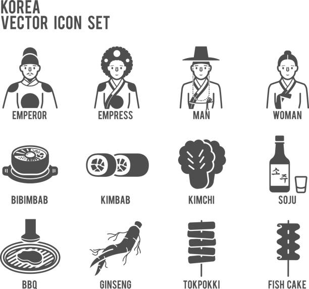 Korea traditional signature food vector icon set vector art illustration